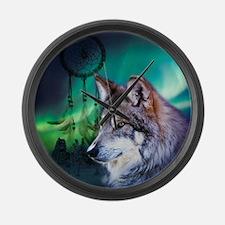 dream catcher northern light wolf Large Wall Clock