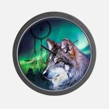 dream catcher northern light wolf Wall Clock