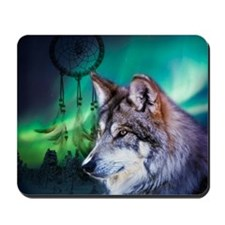 dream catcher northern light wolf Mousepad