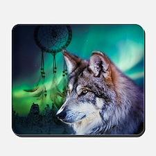 dream catcher northern light wolf Mousepad