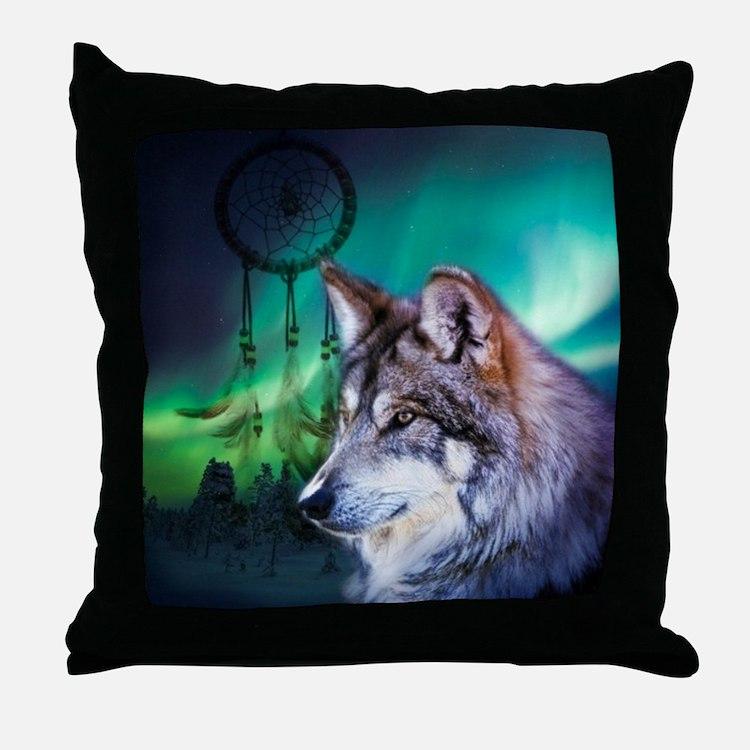 dream catcher northern light wolf Throw Pillow