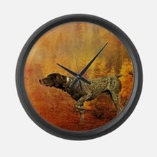 vintage hunting pointer dog Large Wall Clock