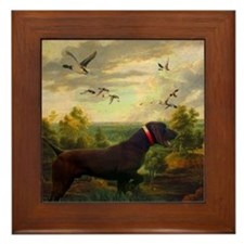 vintage hunting pointer dog Framed Tile