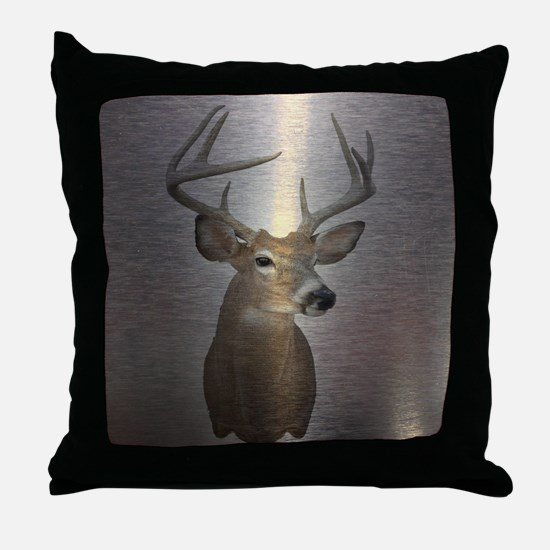 grunge texture western deer Throw Pillow
