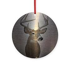 grunge texture western deer Round Ornament