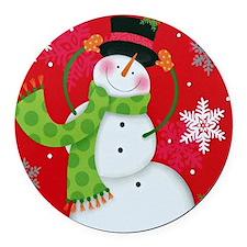 Happy Snowman Round Car Magnet