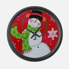 Happy Snowman Large Wall Clock