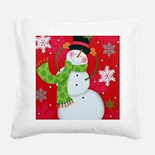 Happy Snowman Square Canvas Pillow