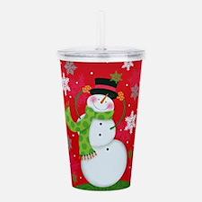 Happy Snowman Acrylic Double-wall Tumbler