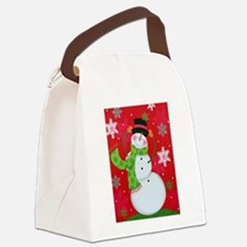 Happy Snowman Canvas Lunch Bag