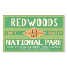 Redwoods National Park (Retro) Sticker (Rectangula