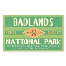 Badlands National Park (Retro) Sticker (Rectangula