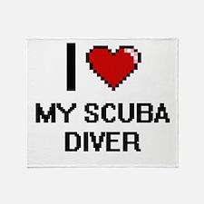 I Love My Scuba Diver Throw Blanket