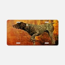 autumn hunting pointer dog Aluminum License Plate
