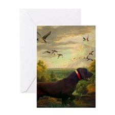 vintage hunting pointer dog Greeting Cards