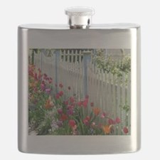 Tulips Garden along White Picket Fence 1 Flask