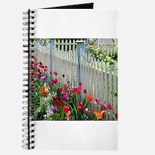 Tulips Garden along White Picket Fence 1 Journal