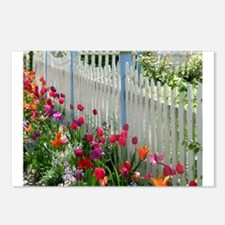 Tulips Garden along White Picket Fence 1 Postcards