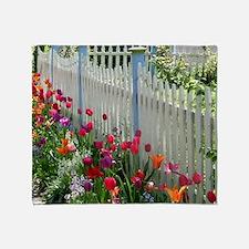 Tulips Garden along White Picket Fence 1 Throw Bla
