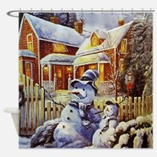 Father & Son Snowman Shower Curtain