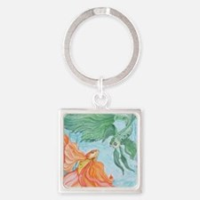 Beta Fish Square Keychain