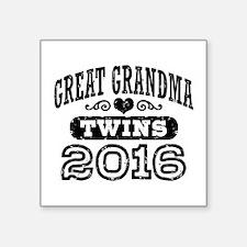 """Great Grandma 2016 Twins Square Sticker 3"""" x 3"""""""