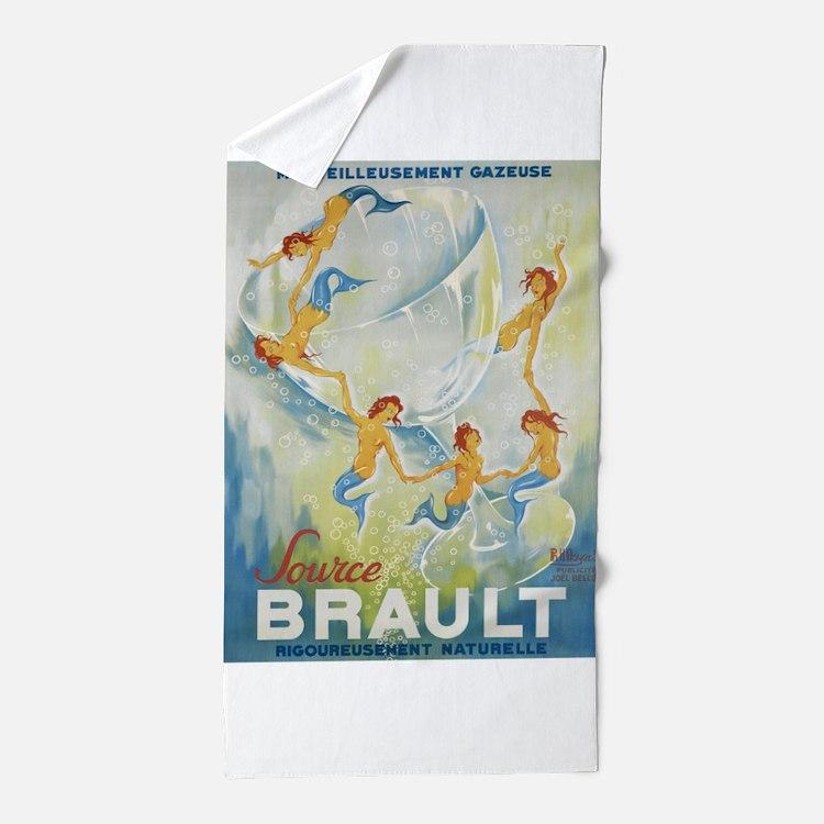 Brault Champagne Vintage Poster Beach Towel