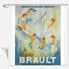 Brault Champagne Vintage Poster Shower Curtain