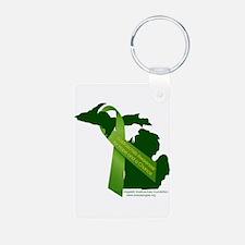 Turn Michigan Green Keychains