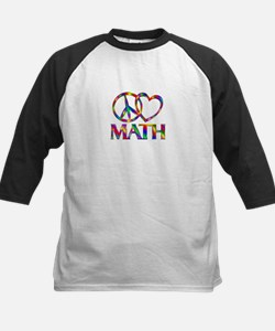 Peace Love Math Kids Baseball Jersey
