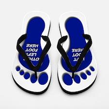 Two Blue Left Feet Flip Flops