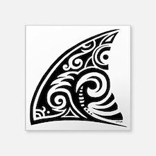 "Tribal Shark Fin Square Sticker 3"" x 3"""