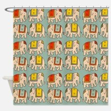 circus elephants elephant cute vint Shower Curtain