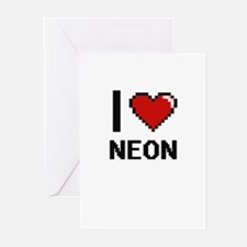 I Love Neon Greeting Cards