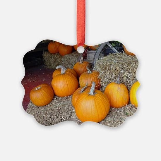 Pumpkin scene Ornament