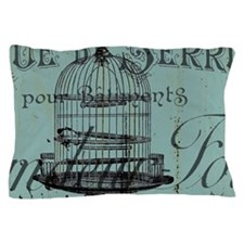 french scripts vintage birdcage Pillow Case