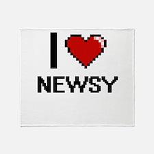 I Love Newsy Throw Blanket
