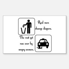 Real Men Change Diapers Rectangle Decal