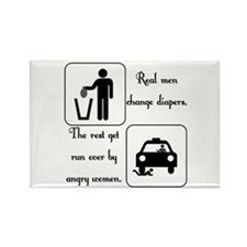 Real Men Change Diapers Rectangle Magnet