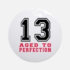 13 Aged To Perfection Birthday Desi Round Ornament