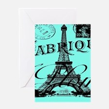 turquoise eiffel tower paris Greeting Cards