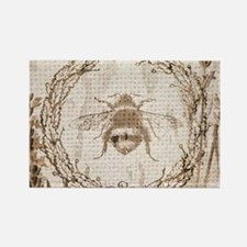 burlap french vintage bee Magnets