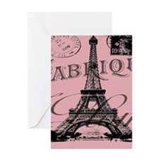 modern girly pink paris Greeting Cards