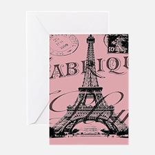 modern girly pink paris Greeting Cards