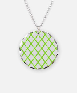 Green, Lime: Quatrefoil Moro Necklace