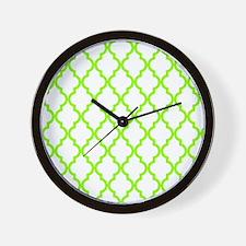 Green, Lime: Quatrefoil Moroccan Patter Wall Clock