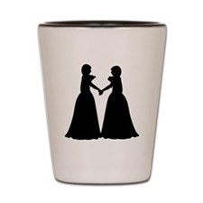 Wedding - Two Brides Holding hand - Sil Shot Glass