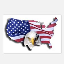 Bald Eagle Over American  Postcards (Package of 8)