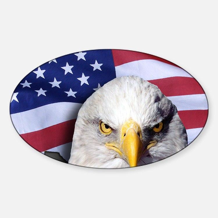 Bald Eagle Over American Flag Decal
