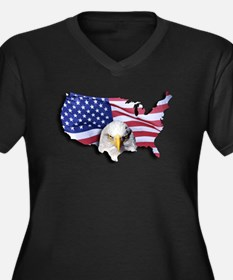 Bald Eagle Over American Flag Plus Size T-Shirt
